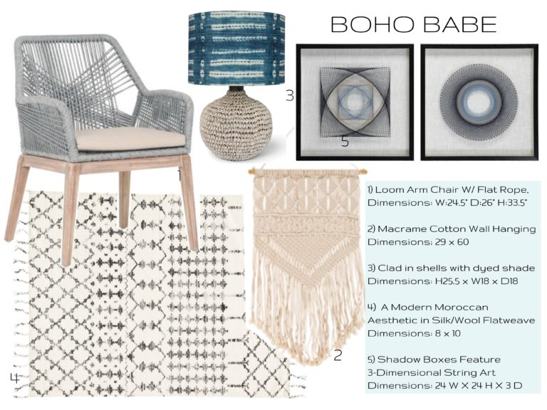 interior design trends - boho babe - graphic