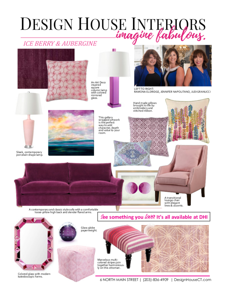 interior design trends - ice berry & aubergine - graphic